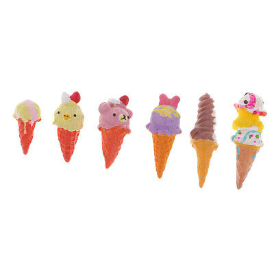 6x Kawaii Ice Cream Resin Flatback Cabochons Decoden Charms DIY Phone Decor • 3.09£