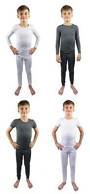 Kids Thermal Underwear Two Piece Long Sleeve Short Sleeve Base Layer 2 -13 Years • 8.25£