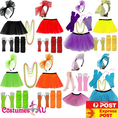 AU21.38 • Buy Ladies 80s Tutu Skirt Fishnet Gloves Leg Warmers Necklace 1980s Dancing Costume