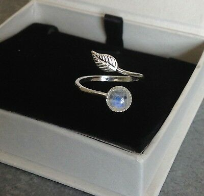 £18.95 • Buy 925 Sterling Silver Feather Ring Rainbow Moonstone Adjustable Ring