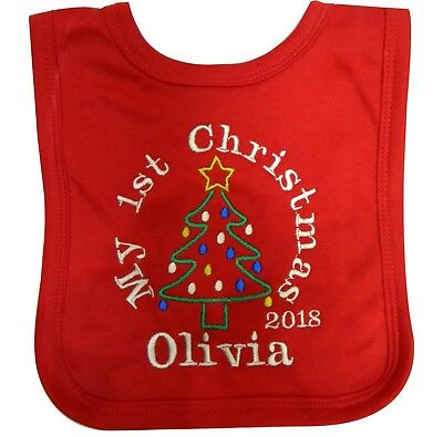 £4.99 • Buy Personalised 1st Christmas Bib Embroidered With The Christmas Tree And A Name
