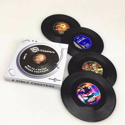 4 Vinyl Style Boxed Coasters Place Mats Bar Set Retro Vintage Record Discs • 4.29£