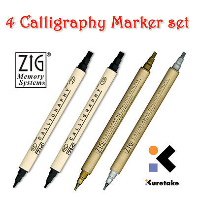 ZIG : Memory System Calligraphy Marker Pen Set: 2 X Black, 1 X Gold, 1 X Silver • 9.99£