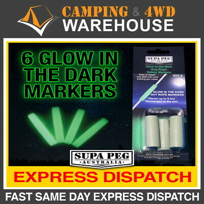 AU12.50 • Buy 6 X SUPA-PEG GLOW IN THE DARK GUY ROPE SAFETY MARKERS TENT ANNEX PEG SUPAPEG