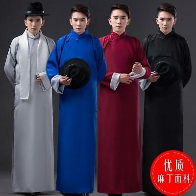 £33.42 • Buy Chinese Style Men Crosstalk Costume Long Gown Robes Jacket Changshan Tunic Stage