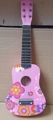 21  Pink Flower Childrens Girls Wooden Acoustic Guitar Musical Instrument Xmas  • 14.99£