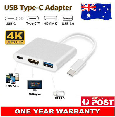 AU11.54 • Buy USB 3.1 TYPE-C To HDMI VGA USB3.0 Charging Hub Adapter For HP Spectre 13 X360 AU