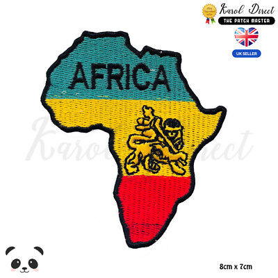 Africa Map Rasta Map Embroidered Iron On Sew On Patch Badge For Clothes Etc • 1.99£