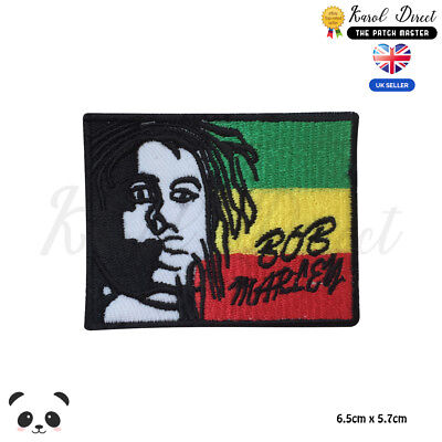 BOB Marley Rasta Flag Embroidered Iron On Sew On Patch Badge For Clothes Etc • 1.99£