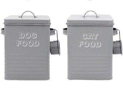 £11.99 • Buy Cat Food Dog Food Animal Food Storage Tin Box Container Canister Grey With Lid