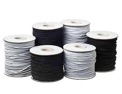 $ CDN30.92 • Buy Round Hat Elastic Cord 1mm 2mm 3mm Black Or White For Beading, Crafts, Hats