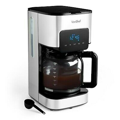 VonShef 1.5L Filter Coffee Maker Machine Instant 12 Cups LCD Display Reusable  • 29.99£