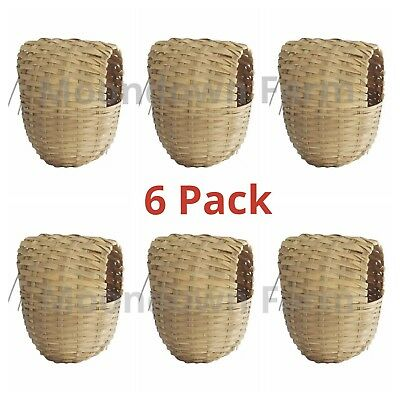 £11.85 • Buy 6x Finch Wicker Nesting Box Nest With Hooks Back Finches Canary 11x10x9cm