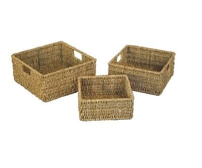 £11.69 • Buy Set Of 3 Natural Nested Seagrass Wicker Square Desk Storage Baskets With Handle