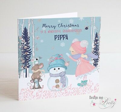 Cute Snowman Christmas Card - Little Girl Daughter Granddaughter Niece Xmas  • 3.70£