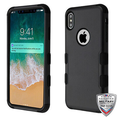 Apple IPhone XS Max Hybrid Rugged Shockproof Protective Phone Case Cover BLACK • 7.16£