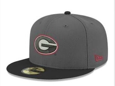New Era Georgia Bulldogs 59FIFTY Fitted Hat Size 7 1 2 Black And Gray • a7e3a89cb47