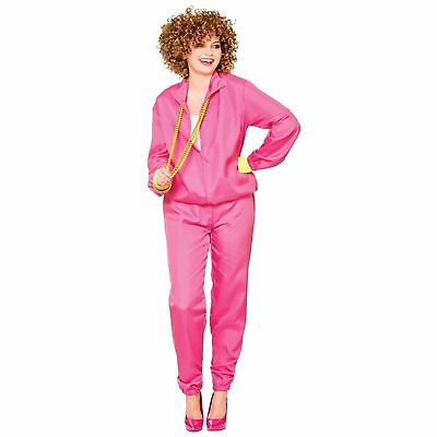 1980's 80s Pink Shell Suit Scouser Trackie Adult Womens Fancy Dress Costume • 13.59£