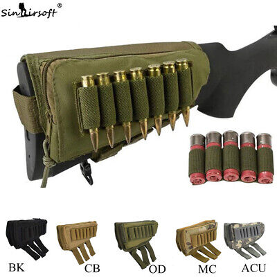 Rifle Stock Pack Bag Buttstock Cheek Pad Rest Shell Mag Ammo Pouch Pocket Holder • 7.99$