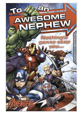 Avengers Awesome Nephew Birthday Card With Stickers • 2.49£