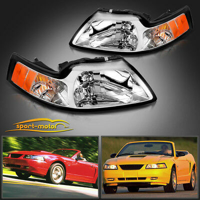 $61.31 • Buy Chrome Housing Headlights For 1999-2004 Ford Mustang Pair Replacement Left+Right
