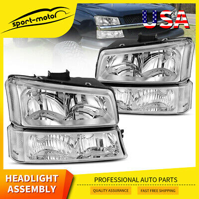 $69.99 • Buy For 03-06 Chevy Silverado Chrome Headlights/headlamps Signal Lights Left+right