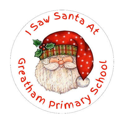 72 Personalised I Saw Santa Stickers School Christmas Fair Grotto Gifts Presents • 3.49£