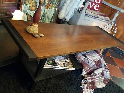 Retro Coffee Table ~ Annie Sloan Graphite Chalk Paint Vintage Preloved Reloved • 68£