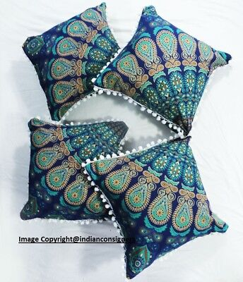 Indian Beautiful Peacock Mandala Design Round Set Of 4 Cushion Cover 20*20 Inch • 13.49£