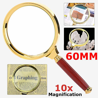 60mm Handheld Jewelry Classic 10X Magnifier Magnifying Glass Loop Loupe Reading • 2.29£