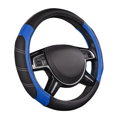 $15.99 • Buy CAR PASS Car Steering Wheel Cover Blue Comfortable Non-slip PU Leather Universal