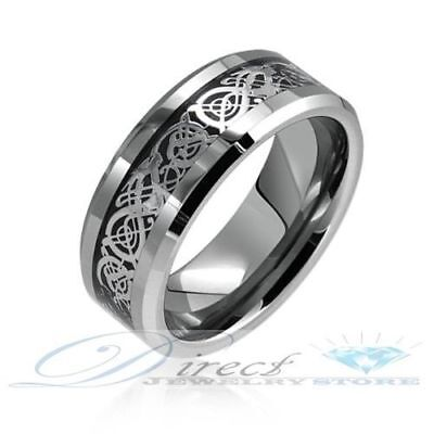 $14.99 • Buy Mens Tungsten Carbide Celtic Dragon Inlay Ring 8mm Size 7 - 14.5