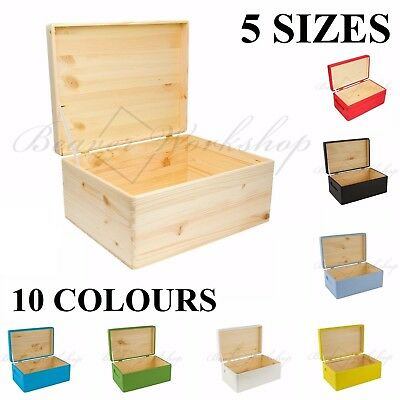 Wooden Box Keepsake Memory Craft Storage Box With Lid / 5sizes /10 Colours • 15£