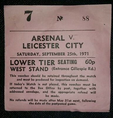 £11.99 • Buy 1971/72 Original DIVISION ONE Match Ticket ARSENAL V LEICESTER CITY