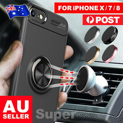 AU7.55 • Buy Magnetic Shockproof Case Cover With Ring Car Holder For IPhone X 8 7 Plus