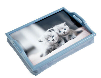 Wooden CATS KITTENS Breakfast, Food, Laptop Table Lap Tray With Cushion Bean Bag • 12.99£