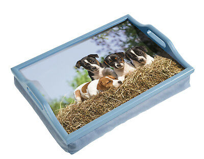 Wooden DOGS PUPPIES Breakfast, Food, Laptop Table Lap Tray With Cushion Bean Bag • 12.99£