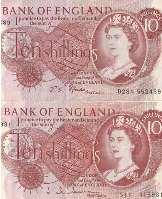 1960 's BANK OF ENGLAND TEN SHILLING NOTE VERY GOOD CIRC. BUT CRISP 100% GENUINE • 6.45£