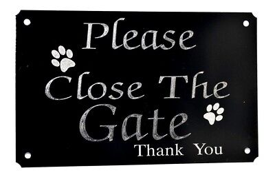 Please Close/shut The Gate Engraved Dog Paw Sign Plate Plaque 5 X3  Black Metal  • 5.99£