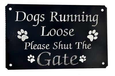 Please Close/shut The Gate Engraved Dog Paw Sign,plate Plaque 5 X3  Black Metal  • 5.99£