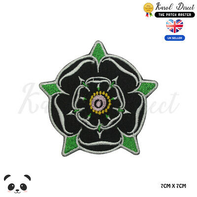 £1.99 • Buy Yorkshire Rose Black Embroidered Iron On Sew On PatchBadge For Clothes