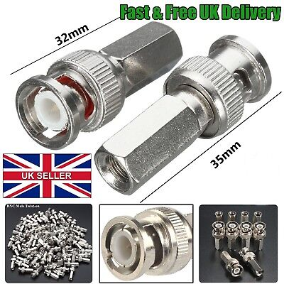 £1.49 • Buy CCTV BNC Male Twist Coaxial Camera Socket Connector Adapter For RG59 Cable 32 35