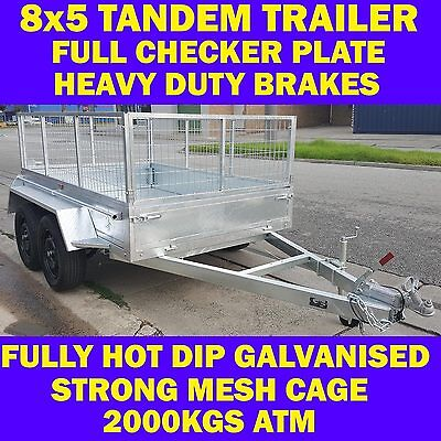 AU2299 • Buy 8x5 Galvanised Tandem Trailer With Cage Box Trailer Full Checker Plate New