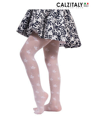 £15.95 • Buy Girls Sheer Tights, Floral Pantyhose For Children, 25 DEN, Made In Italy