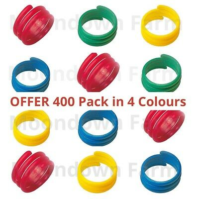 400 X 18mm In 4 COLOURS SPIRAL LEG RINGS FOR POULTRY, CHICKEN, DUCKS, GEESE Etc • 38£