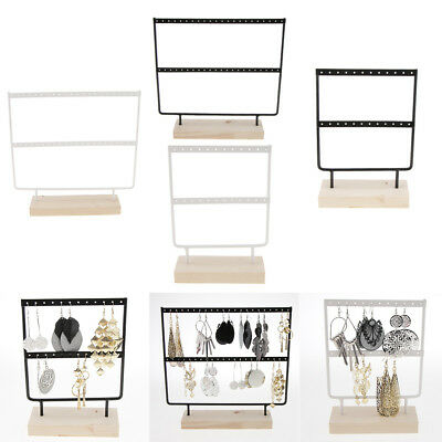 4pcs Necklace Pendant Earring Holder Organizer Wooden Stand Rack 24/44 Holes • 25£