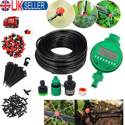 25M Micro Drip Irrigation Watering Kit Automatic Garden Plant Greenhouse System • 14.19£