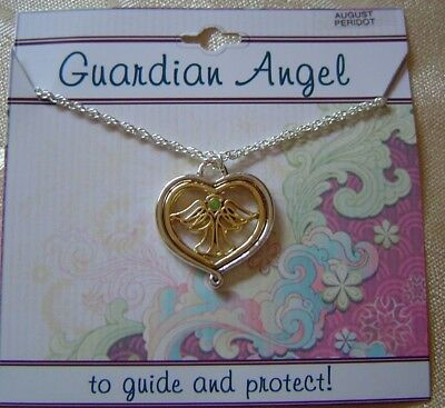 August Guardian Angel Necklace,peridot Crystal Birthstone, 2 Tone Plated,card   • 7.15£