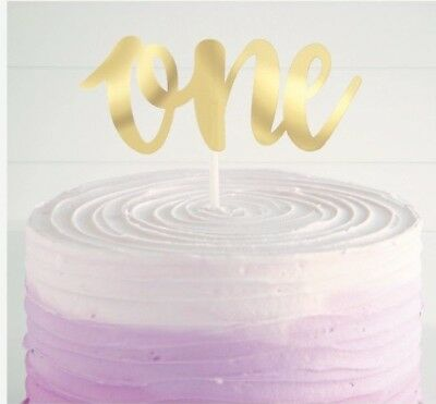 AU4.05 • Buy Metallic Gold 1st First One Birthday Paper Cake Topper Party Decoration 15cm
