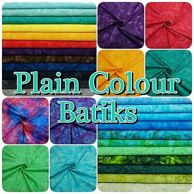 Bright Multi-Coloured 100% Cotton Hand Dyed PLAIN Batik Patchwork Craft Fabric • 3£